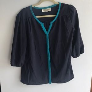 Navy and teal blouse